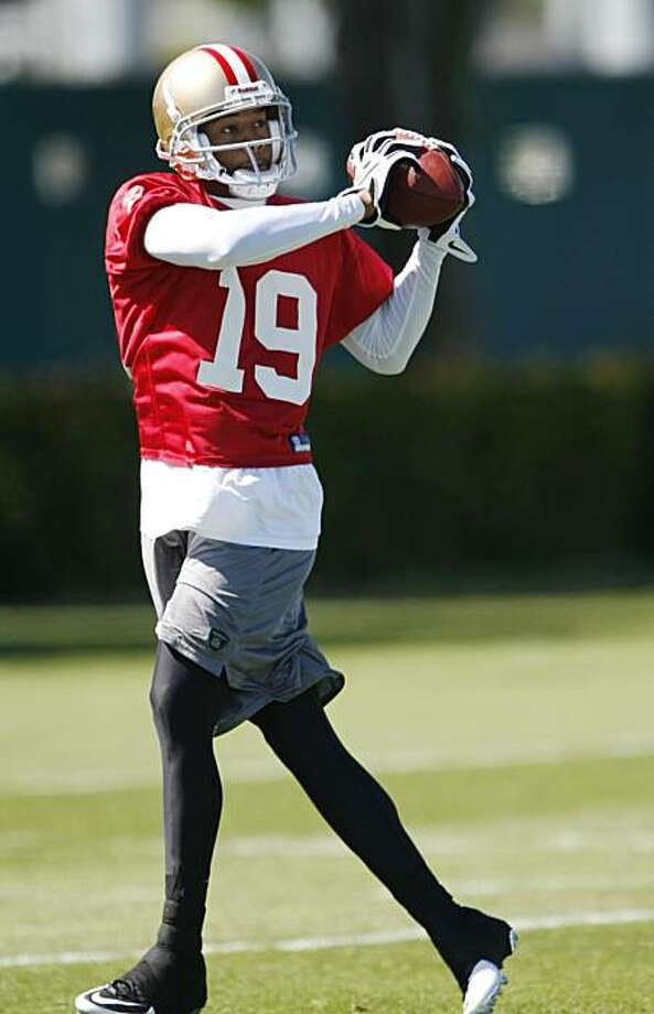 San Francisco 49ers wide receiver Ted Ginn, Jr. (19)  catches a pass  during rookie football mini-camp at 49ers headquarters in Santa Clara, Calif., Friday, April 30, 2010. Photo: Paul Sakuma, AP