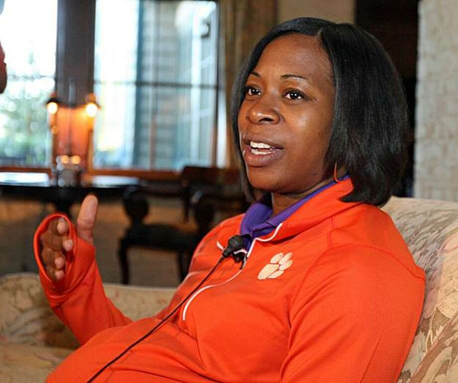 Clemson women's basketball coach Itoro Coleman answers a question during Clemson basketball media day golf outing at The Reserve at Lake Keowee in Sunset, S.C. on Thursday, Oct. 7, 2010. The Lady Tigers open their 2010-11 season at home against UNC-Greensboro. Photo: Mark Crammer, AP