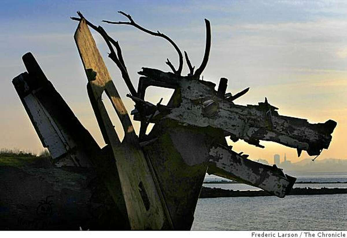 A sculpture sits in the Albany Bulb, a landfill project filled with acres of concrete and rusted iron rebar, in Albany, Calif., on Feb. 5, 2009.