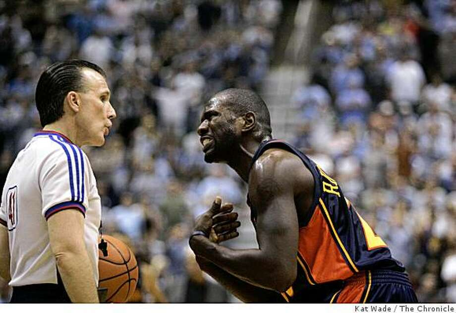 Golden State Warriors' Jason Richardson argues over a call as they watch the game slip away during the thrid quarter in game 5 round 2 against the Utah Jazz during the Western Conference semi-finals at EnergySolutions Arena in Salt Lake City. Utah on Tuesday May 15, 2007. The Jazz won 100 to 87.Kat Wade/The Chronicle Photo: Kat Wade, The Chronicle