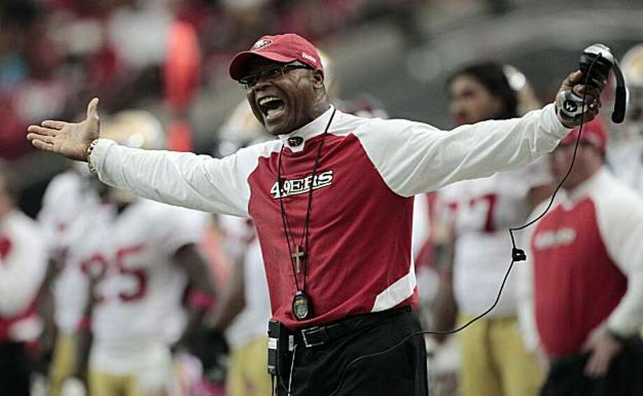 San Francisco 49ers coach Mike Singletary reacts to a call near the end of a 16-14 loss to the Atlanta Falcons in an NFL football game at the Georgia Dome in Atlanta, Sunday, Oct. 3, 2010. Photo: Dave Martin, AP