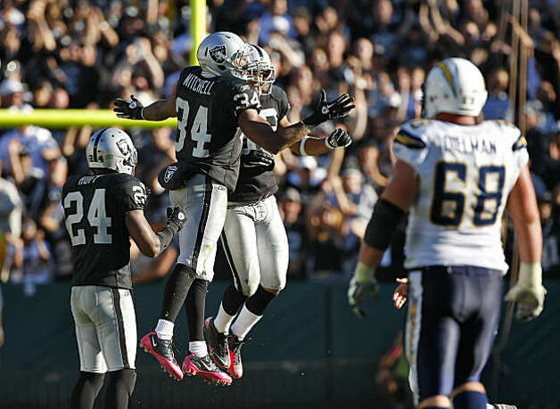The Oakland Raiders Mike Mitchell and Tyvon Branch jump and cheer after the Raiders defeat the San Diego Chargers, 35 to 27  at the Oakland-Alameda County Coliseum, Sunday Oct. 10, 2010, in Oakland, Calif. Photo: Lacy Atkins, The Chronicle