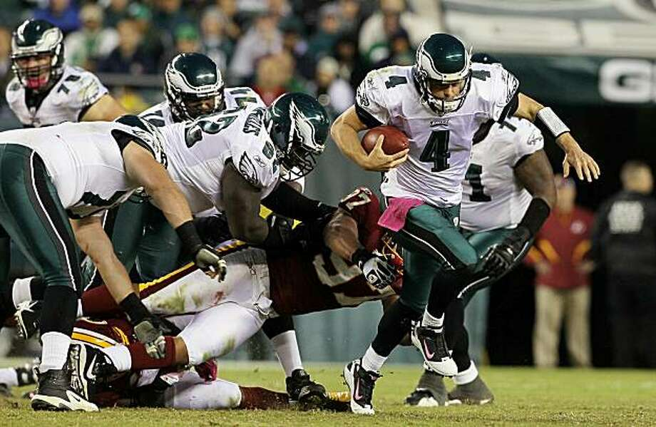PHILADELPHIA - OCTOBER 03:  Kevin Kolb #4 of the Philadelphia Eagles breaks free for a second half first down against the Washington Redskins on October 3, 2010 at Lincoln Financial Field in Philadelphia, Pennsylvania. Photo: Jim McIsaac, Getty Images
