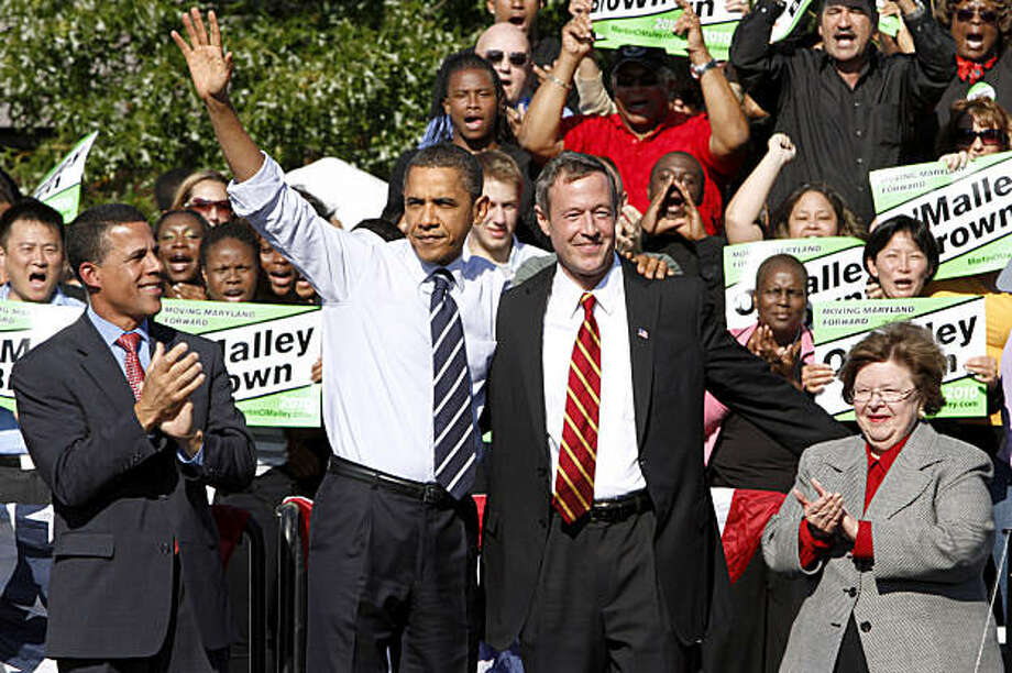 President Barack Obama attends a campaign rally for Maryland Gov. Martin O'Malley, second from right, Thursday, Oct. 7, 2010, at Bowie State University in Bowie, Md. At right is Sen. Barbara Mikulski, D-Md. , at left is Maryland Lt. Gov. Anthony Brown. Photo: Jacquelyn Martin, AP