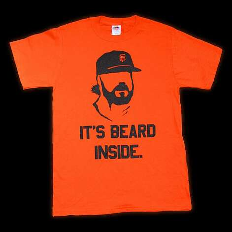 "Giants fan Geoff Garnett of Pleasanton plans to sell the ""It's Beard Inside"" T-shirt he designed. Photo: Geoff Garnett"