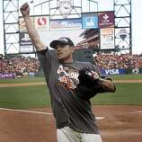 Second baseman Freddy Sanchez celebrates the Giants' 3-0 win over the San Diego Padres and the NL West title at AT&T Park in San Francisco on Sunday.