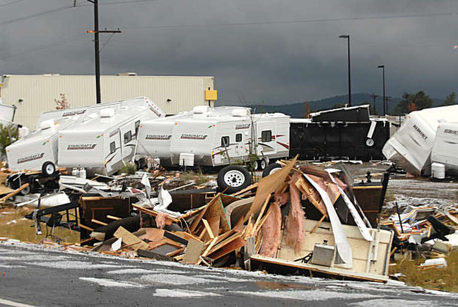 Trailers at Camping World in Bellemont, Ariz. are tossed throughout the area after a tornado struck the business on Wednesday, Oct. 6, 2010. Camping world is an RV business that sells campers and camper accessories. Photo:  Josh Biggs, AP