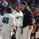 Manager Bruce Bochy turns to the bullpen after ending Jonathan Sanchez's day in the sixth inning of the San Francisco Giants game against the San Diego Padres at AT&T Park on Sunday.