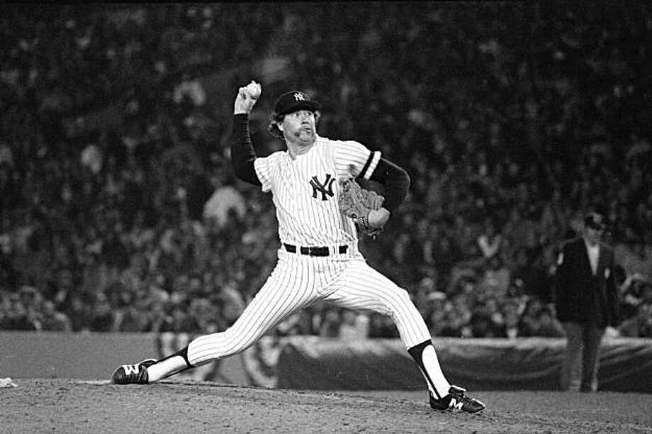 """** ADVANCE FOR WEEKEND EDITIONS, JAN. 5-6 -- FILE -- ** New York Yankees pitcher Rich """"Goose"""" Gossage hurls a pitch during ninth inning action in the American League Championship Series against the Oakland A's at Yankee Stadium in New York, in this Oct. 14, 1981 file photo.  (AP Photo/Ray Stubblebine, FILE) Photo: Ray Stubblebine, AP"""