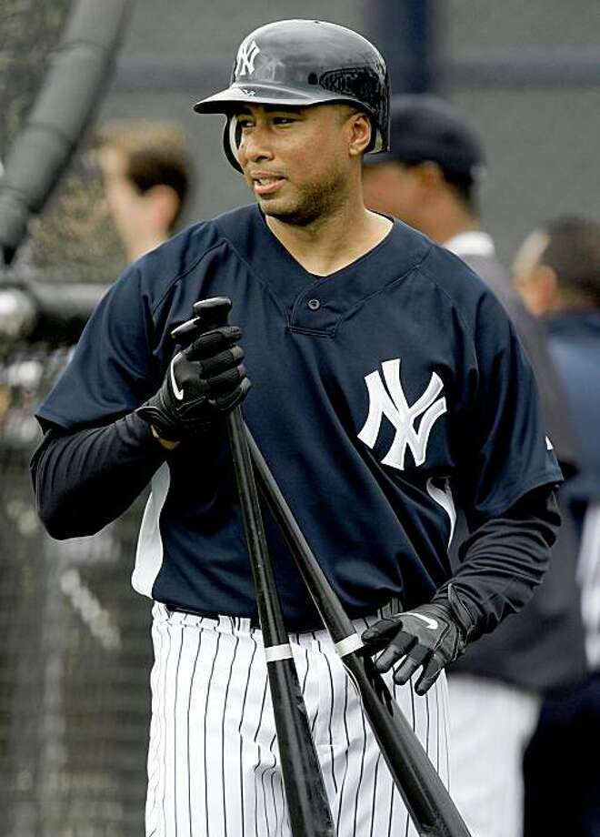 New York Yankees' Bernie Williams finishes up his his turn in the  batting cage during a spring training baseball workout in Tampa, Fla., Thursday, Feb. 19, 2009.  (AP Photo/Gene J. Puskar) Photo: Gene J. Puskar, AP