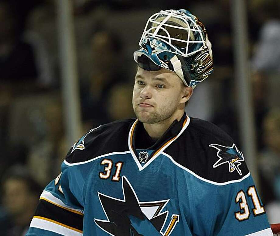 San Jose Sharks goalie Antti Niemi, of Finland, rests during a break in action during the first period of a pre-season NHL hockey game against the Phoenix Coyotes in San Jose, Calif., Saturday, Sept. 25, 2010. Photo: Marcio Jose Sanchez, AP