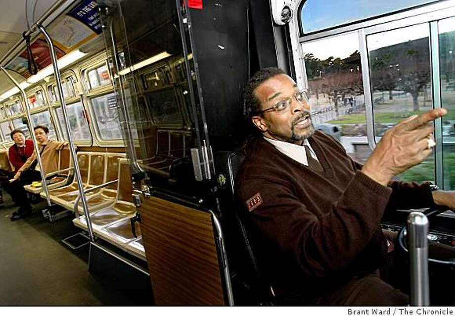 The CultureBus is rarely crowded, but Henderson points out something in Golden Gate park to a couple of riders. Siegfried Henderson is a longtime MUNI driver who runs the CultureBus route from downtown San Francisco Thursday, January 15, 2009 to museums all over town. Photo: Brant Ward, The Chronicle