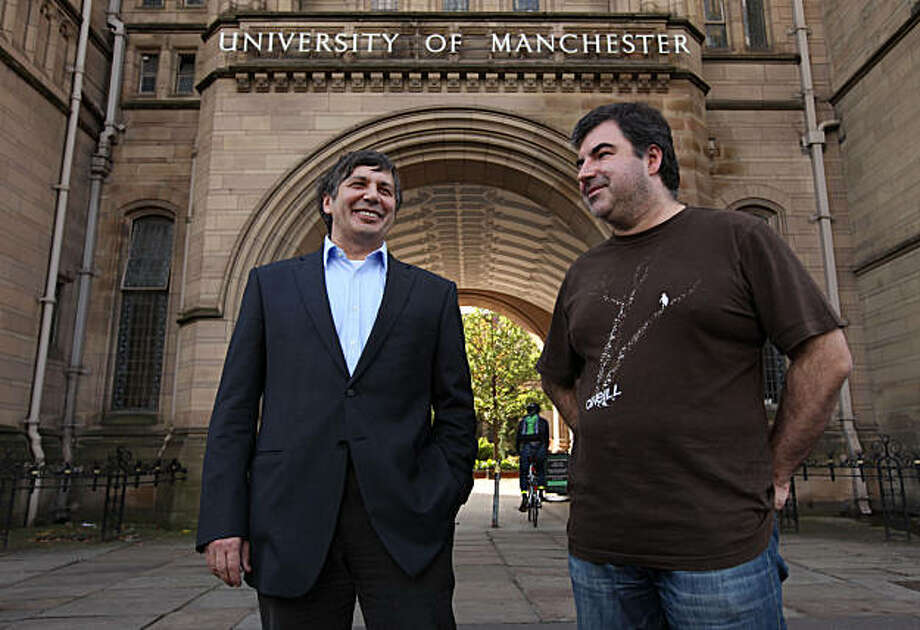 "Professor Andre Geim, left, and Dr Konstantin Novoselov who have have been awarded the Nobel Prize for Physics are seen outside Manchester University, Manchester, England, Tuesday, Oct, 5, 2010. The  scientists shared the Nobel Prize in physics on Tuesday for ""groundbreaking experiments"" with the thinnest, strongest material known to mankind  a carbon vital for the creation of faster computers and transparent touch screens. (AP Photo/Jon Super). Photo: Jon Super, AP"