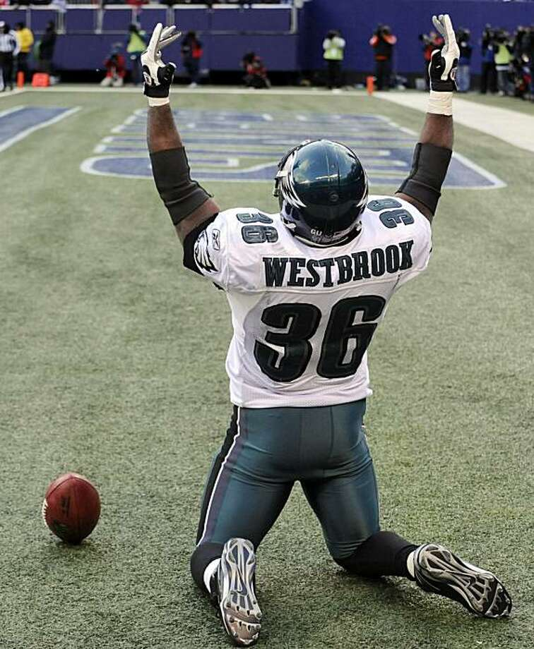 Philadelphia Eagles' Brian Westbrook reacts after scoring on a 40-yard touchdown pass during the fourth quarter of an NFL football game against the New York Giants Sunday, Dec. 7, 2008 at Giants Stadium in East Rutherford, N.J. The Eagles won 20-14.  (AP Photo/Bill Kostroun) Photo: Bill Kostroun, AP