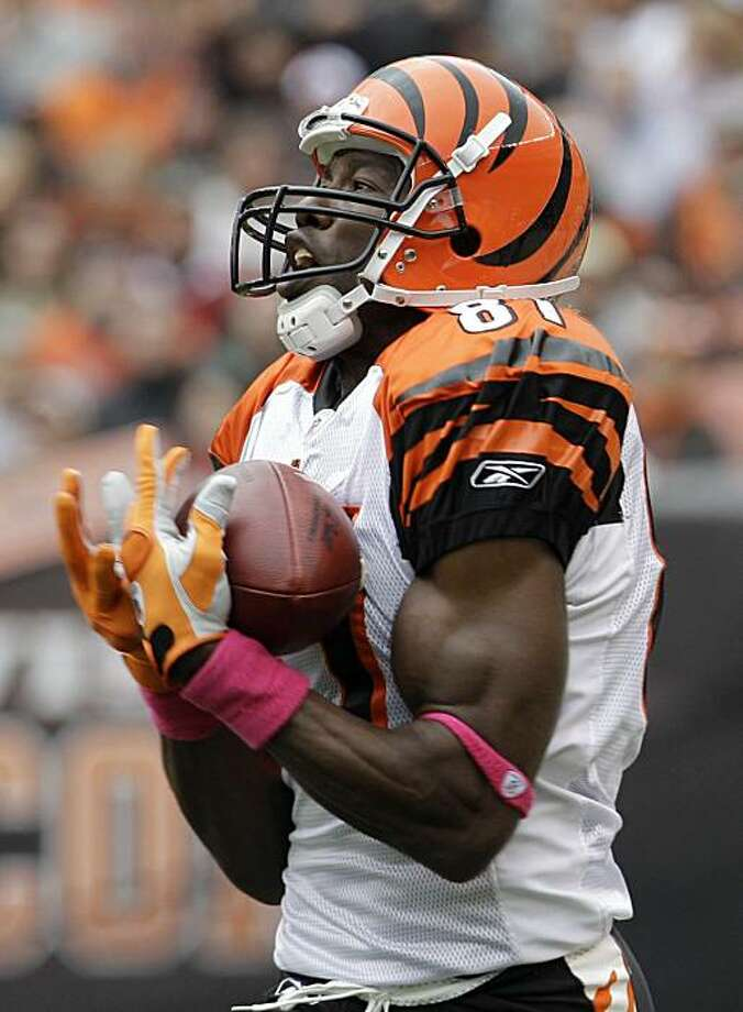 Cincinnati Bengals wide receiver Terrell Owens catches a 78-yard touchdown pass against the Cleveland Browns in the second quarter of an NFL football game Sunday, Oct. 3, 2010, in Cleveland. Photo: Tony Dejak, AP