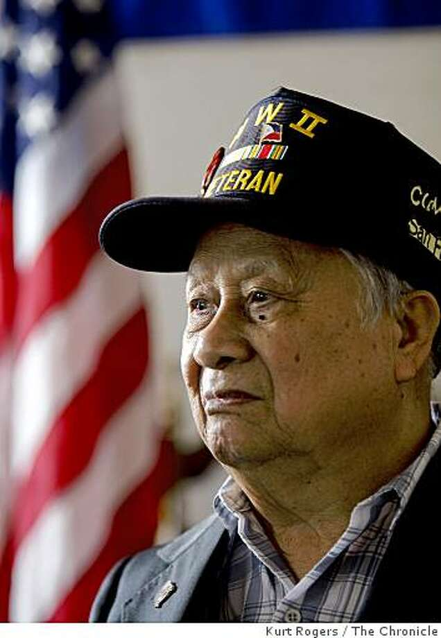 Filamon Mordend  one of many Filipinos who served in the U.S. Army in World War II. They  will be  recognized for their service with a one time payment from the Stimulus bill. . on Friday  Feb 13,  2009 in San Francisco, Calif Photo: Kurt Rogers, The Chronicle