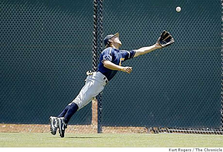 Cal's Brett Jackson dives for Colin Walsh's hit in the third inning  as Cal plays Stanford on Saturday , May 10, 2008 in Stanford, Calif.Photo by Kurt Rogers / San Francisco Chronicle(CAPTION CORRECTS PREVIOUS VERSION OF CAPTION) Photo: Kurt Rogers, The Chronicle