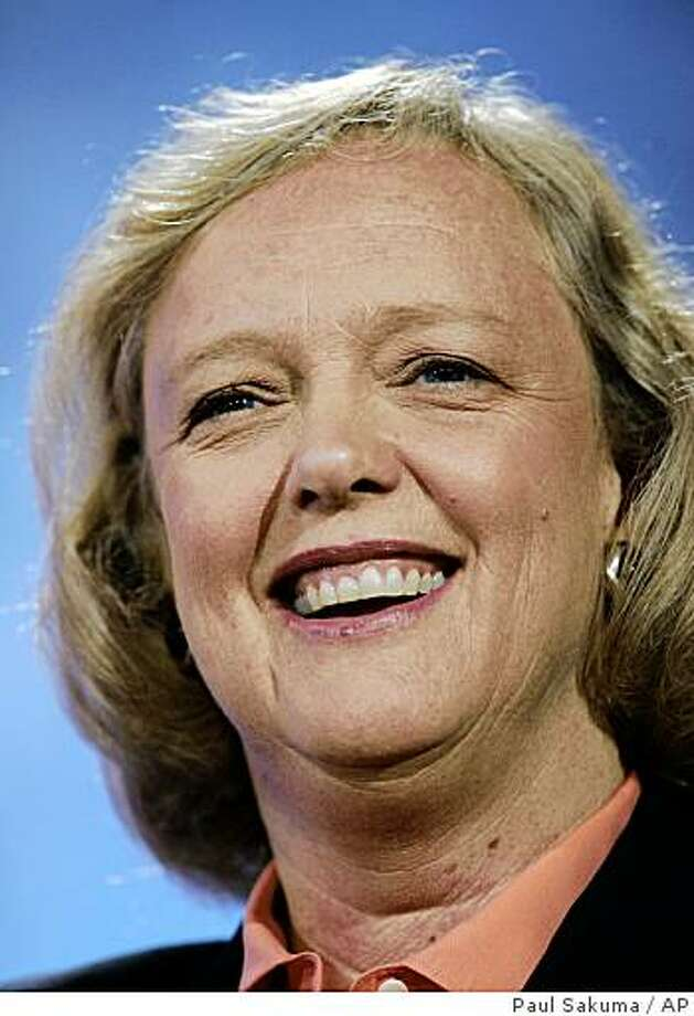 Former eBay Chief Executive Meg Whitman smiles as she speaks the Web 2.0 conference in San Francisco, Oct. 18, 2007. Whitman officially launched her bid to seek the Republican nomination for California governor on Monday, Feb. 9, 2009 capping a yearlong tour on the political stage after leaving her high-profile Silicon Valley post.  (AP Photo/Paul Sakuma) Photo: Paul Sakuma, AP