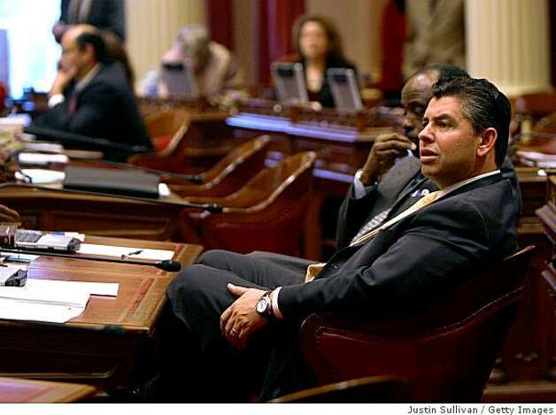 SACRAMENTO, CA - FEBRUARY 17:  California state Sen. Abel Maldonado (R-Santa Maria) listens to arguments during a session of the state Senate February 17, 2009 in Sacramento, California. Photo: Justin Sullivan, Getty Images
