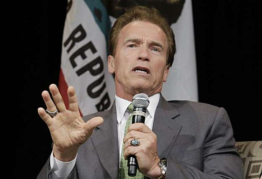 Gov. Arnold Schwarzenegger speaks at the Commonwealth Club in Santa Clara, Calif., Monday, Sept. 27, 2010. Schwarzenegger delayed the state's first execution since 2006 by nearly two days Monday to allow more time for courts to consider the condemned inmate's appeals. Photo: Paul Sakuma, AP