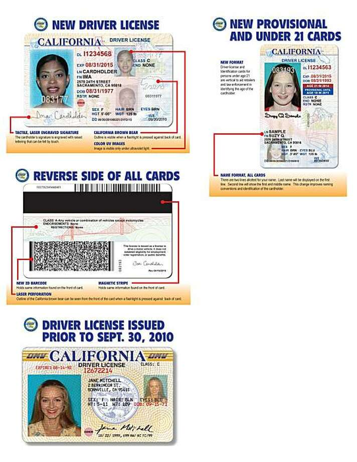 Clockwise from bottom left: Current driver's license, the back of the new license, the front  of t he new license, and the front for people under 21. Photo: Department Of Motor Vehicles