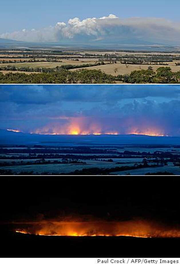 This combo photo shows the progression of the Wilson's Promontory - Cathedral wildfire which, started by a lightning strike has ripped through over six thousand hectares of the pristine Wilson's Promontory national park some 190km southeast of Melbourne on February 14, 2009. Wilson's Promontory is the southern-most tip of the Australian mainland and is rich with native fauna and flora.  Survivors made a harrowing return February 14 to a town burnt to ashes in Australia's deadliest bushfires, as police scoured the crime scene in their hunt for suspected arsonists. AFP PHOTO/Paul CROCK (Photo credit should read PAUL CROCK/AFP/Getty Images) Photo: Paul Crock, AFP/Getty Images