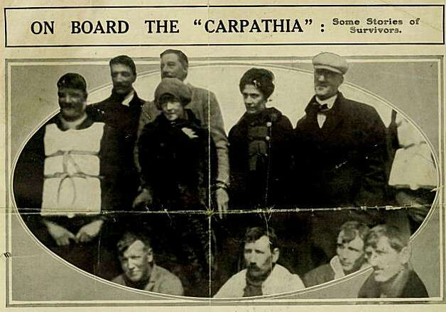 This is a  photograph of Titanic survivors Laura Francatelli, standing second right, and her employers Lady Lucy Duff-Gordon, standing 3rd left, and Sir Cosmo Duff-Gordon, standing directly behind LadyLucy, standing on the rescue ship Carpathia, made available by auctioneers Henry Aldridge and Son on Thursday Oct. 7, 2010. Francatelli heard a terrible rumbling noise, then anguished cries for help as her rowboat pulled away from the sinking ocean linerTitanic that dreadful night in 1912. Photo: AP