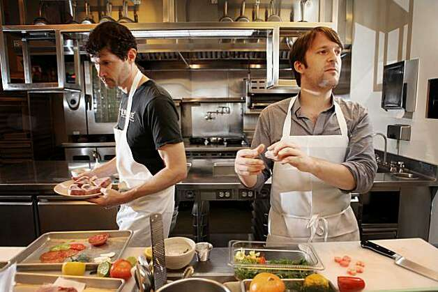 Daniel Patterson, exec chef/owner of Coi shares the kitchen at his restaurant with Rene Redzepi (rt), a 2-Michelin star chef at Noma in Denmark, on Monday Oct. 4, 2010 in San Francisco, Calif. Photo: Mike Kepka, The Chronicle