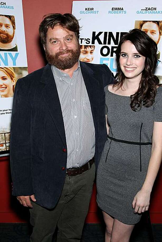 "In this photo provided by StarPix, actress Emma Roberts and actor Zach Galifianakis arrive at the premiere of ""It's Kind of a Funny Story"" Tuesday, Sept. 14, 2010 in New York. Photo: Marion Curtis, AP"