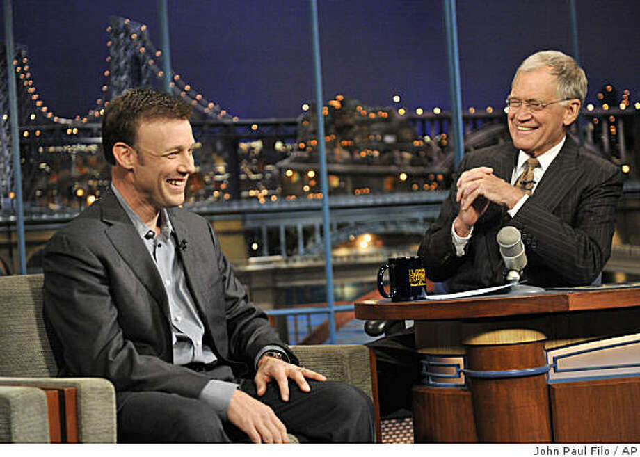 "In a photo provided by CBS, Daytona 500 winner Matt Kenseth talks with David Letterman, host of ""Late Show with David Letterman,"" during the taping of the show Monday, Feb. 16, 2009, in New York. (AP Photo/CBS, John Paul Filo) ** MANDATORY CREDIT  ARCHIVE OUT  NO SALES  NORTH AMERICAN USE ONLY ** Photo: John Paul Filo, AP"