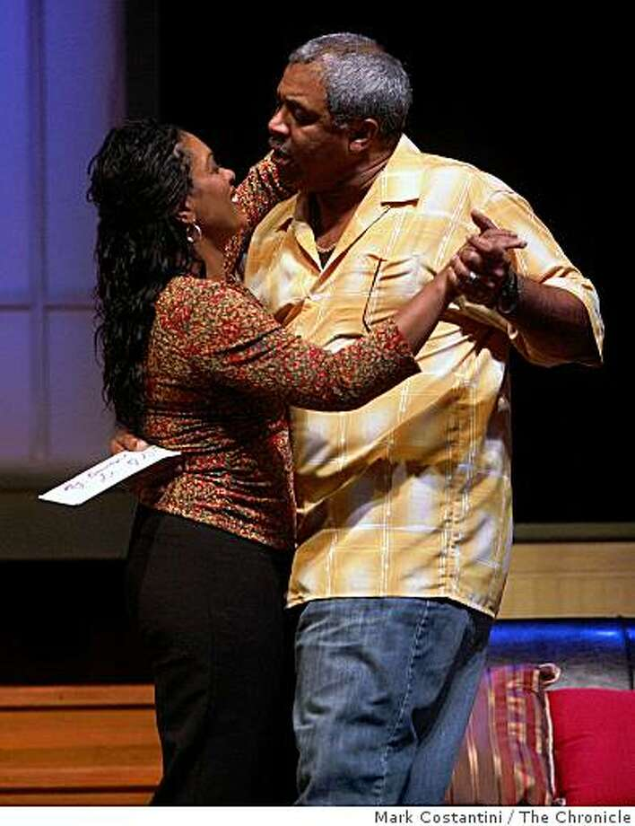 "Alex Morris (right)  and Pjay Phillips act in ""Waitin' 2 End Hell"" in San Francisco, Calif. on Thursday, February 12, 2009. Photo: Mark Costantini, The Chronicle"