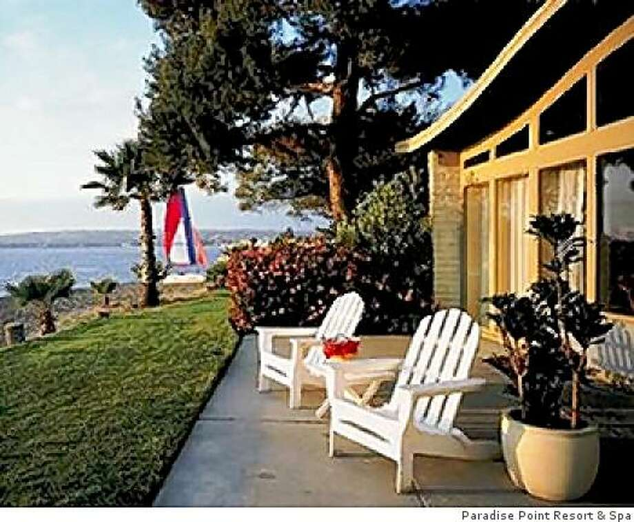 Paradise Point Resort & SpaBig-time kid-friendliness and lush landscaping on 44 acres, with four pools, gentle bayfront beaches and watercraft rentals. All 462 low-rise rooms have phones and TVs.  1404 Vacation Road, San Diego; (800) 344-2626 or (858) 274-4630, www.paradisepoint.com. Photo: Paradise Point Resort & Spa, Paradise Point Resort & Spa