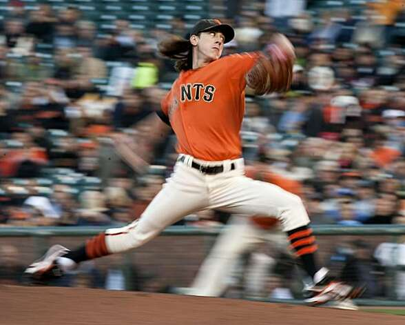 Tim Lincecum makes his delivery in the 1st inning as the San Francisco Giants take on the Arizona Diamondbacks at AT&T Park in San Francisco, Calif., on Friday, August 27, 2010. Photo: Chad Ziemendorf, The Chronicle