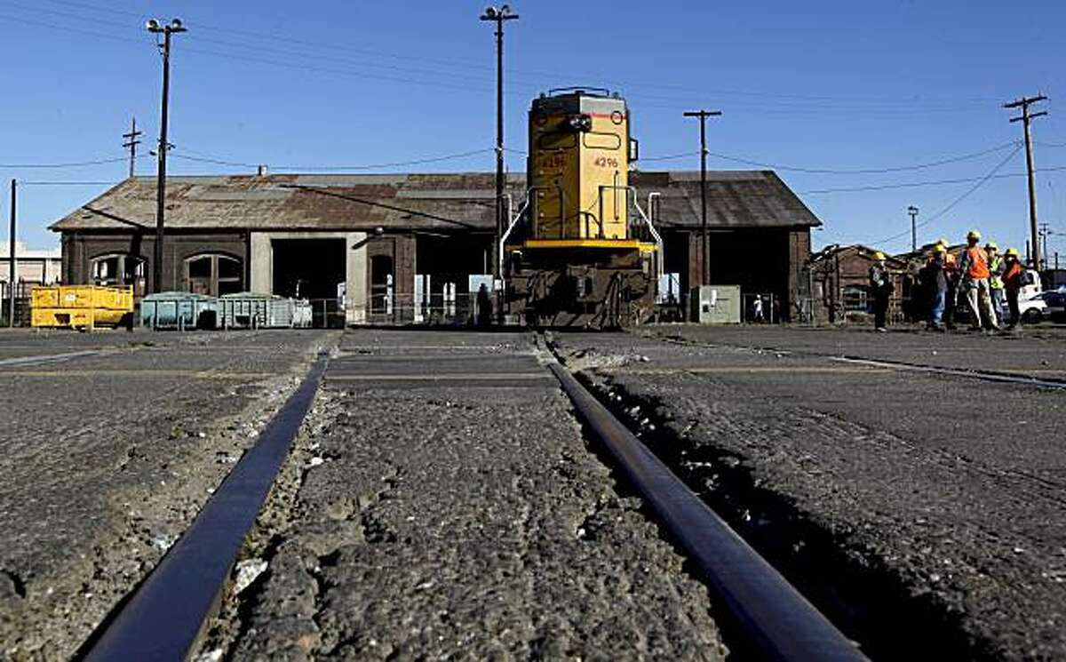 Railroad buffs and historians gathered at the locomotive repair shop in West Oakland, Calif. on Thursday Sept. 23, 2010, for one last glimpse of the building. Union Pacific is scheduled to begin demolition of the building that was built in 1874.