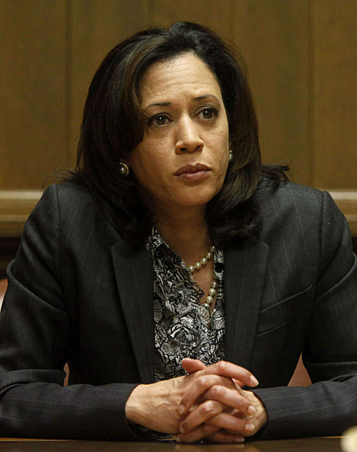 San Francisco District Attorney Kamala Harris, who is running for state Attorney General, speaks with the San Francisco Chronicle editorial board at the Chronicle on Thursday April 22, 2010 in San Francisco, Calif.