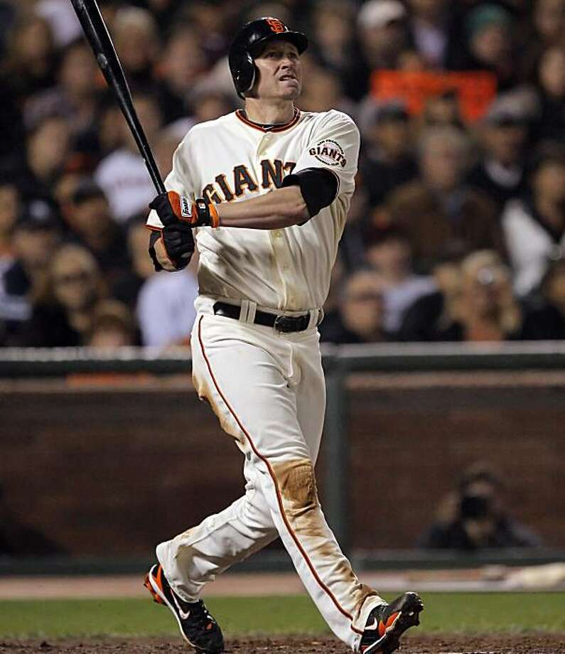 Aubrey Huff watches the flight of his three-run homerun in the third inning. The San Francisco Giants played the Los Angeles Dodgers at AT&T Park in San Francisco, Calif., on Thursday, September 16, 2010, defeating the Dodgers 10-2. Photo: Carlos Avila Gonzalez, The Chronicle