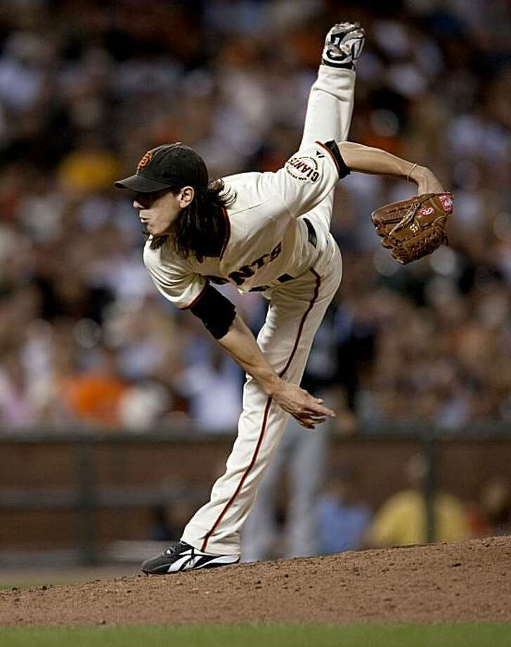 Tim Lincecum makes his delivery as the San Francisco Giants take on the Colorado Rockies at AT&T Park in San Francisco, Calif., on Saturday, September 1, 2010. Photo: Chad Ziemendorf, The Chronicle
