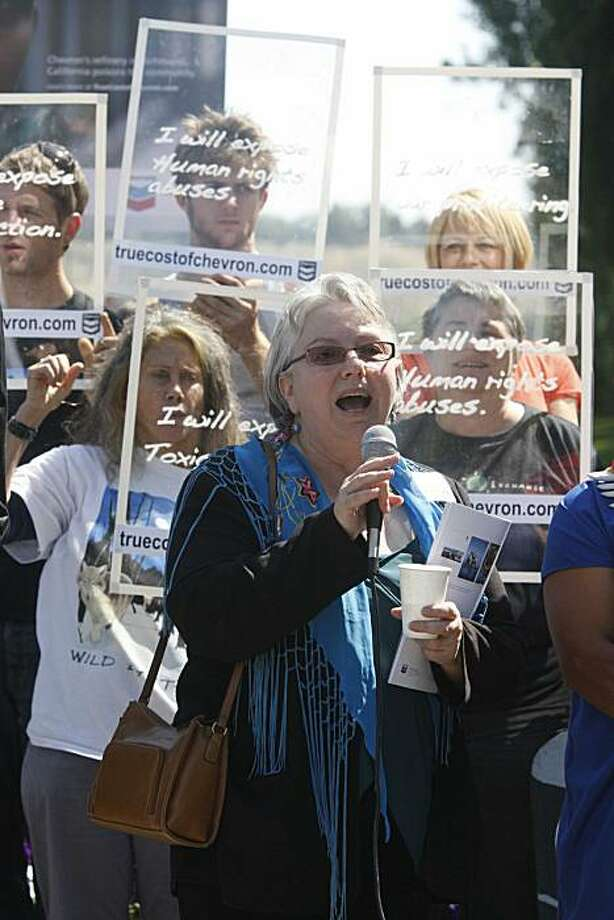 The Mayor of Richmond, Calif, Gayle McLaughlin, speaks to group of protesters outside of Chevron's Headquarters after attending the annual shareholders meeting on Wednesday May 27, 2009 in San Ramon, Calif. McLaughlin who attended the meeting as a proxy on behalf of Global Exchange, who own 50 shares of Chevron, said she came to speak her mind about the the poor treatment Chevron has given to the residents of Richmond. Photo: Mike Kepka, The Chronicle