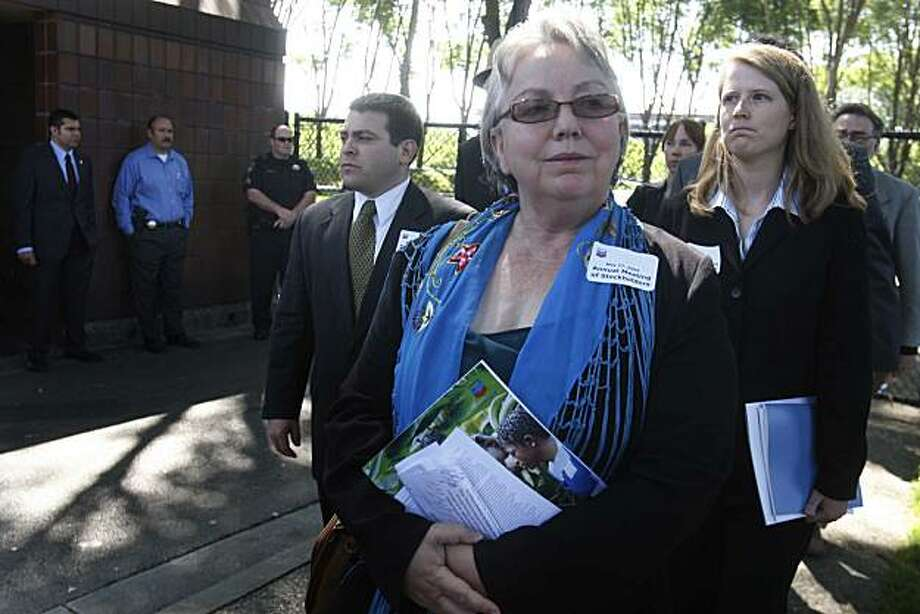 Richmond Mayor Gayle McLaughlin walks out of the front gates of Chevron's Headquarters after attending the annual shareholders meeting in 2009. Photo: Mike Kepka, The Chronicle