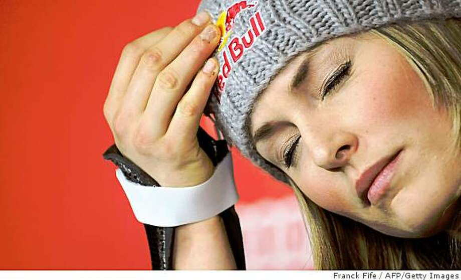 USA's Lindsey Vonn attends a press conference at the World Ski Championships on February 12, 2009 in Val d'Isere, French Alps. American Lindsey Vonn will not have the chance to add to her two world gold medals in the downhill and Super-G after being ruled out of the giant slalom because of a cut thumb.       AFP PHOTO / FRANCK FIFE (Photo credit should read FRANCK FIFE/AFP/Getty Images) Photo: Franck Fife, AFP/Getty Images