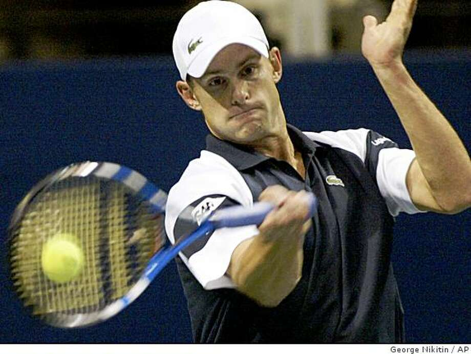 Andy Roddick hits a forehand against Ernests Gulbis, of Latvia, during an SAP Open tennis tournament match Thursday, Feb. 12, 2009, in San Jose, Calif. (AP Photo/George Nikitin) Photo: George Nikitin, AP