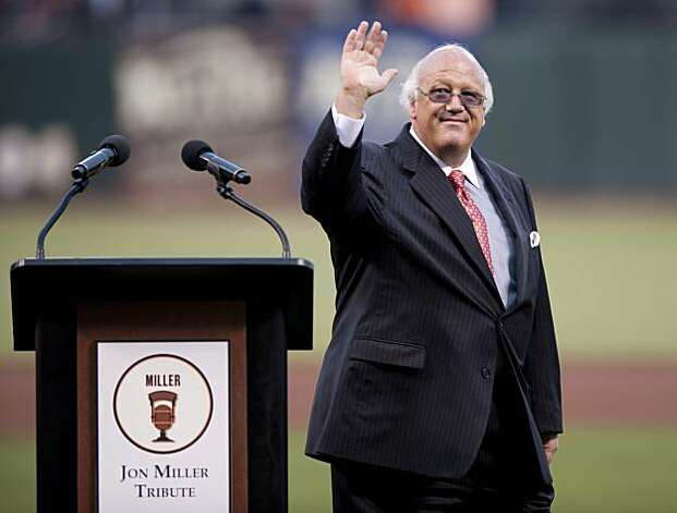 Hall of Fame announcer Jon Miller is honored prior to the San Francisco Giants' game against the New York Mets on Friday at AT&T Park. Photo: Chad Ziemendorf, The Chronicle