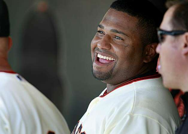 Pablo Sandoval laughed after his first inning home run put the Giants up 1-0. The San Francisco Giants defeated the Arizona Diamondbacks 4-1 on Thursday September 30, 2010. Photo: Brant Ward, The Chronicle