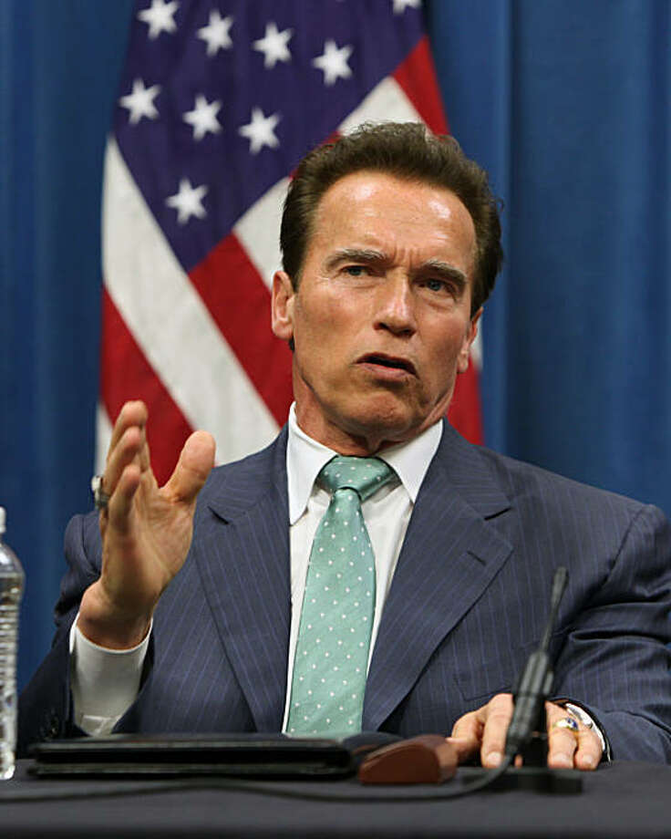 Gov. Arnold Schwarzenegger, answers a reporters question after meeting with leaders of California's colleges and universities to discuss budget cuts that have left higher education in critical condition, Wednesday, March 3, 2010 in Sacramento, Calif.. Photo: Rich Pedroncelli, AP