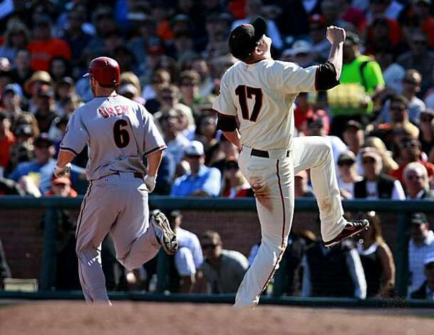 Aubrey Huff (17) reacts to being stepped on by Stephen Drew late in the game. The San Francisco Giants defeated the Arizona Diamondbacks 4-1 on Thursday September 30, 2010. Photo: Brant Ward, The Chronicle