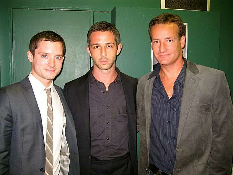 Actors Elijah Wood (left) and Jeremy Strong with producer Todd Traina at the Clay Theater. September 2010. Photo: Catherine Bigelow, Special To The Chronicle