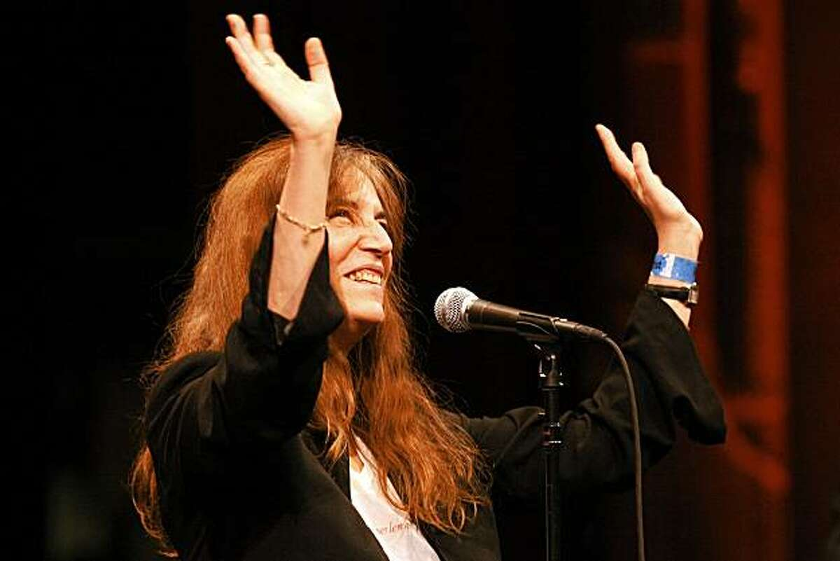 Patti Smith sings at the Herbst Theatre Saturday, October 2, 2010, San Francisco, Calif. Lawrence Ferlinghetti, poet and cofounder of City Lights Bookstore, is honored with the Barbary Coast Award during Litquake, San Francisco's Literary Festival.