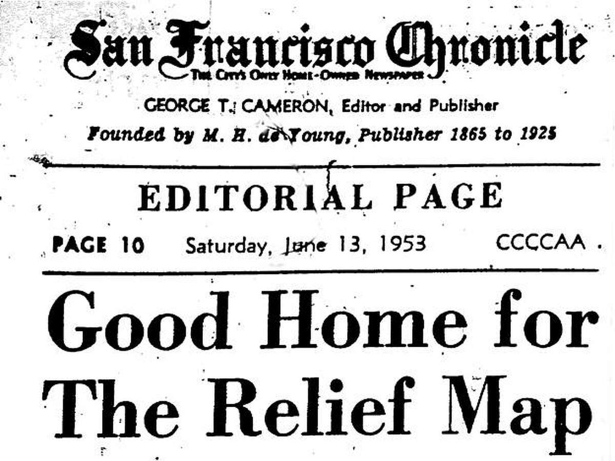 A San Francisco Chronicle editorial page from June 13, 1953 includes a column trying to find a home for the relief map.