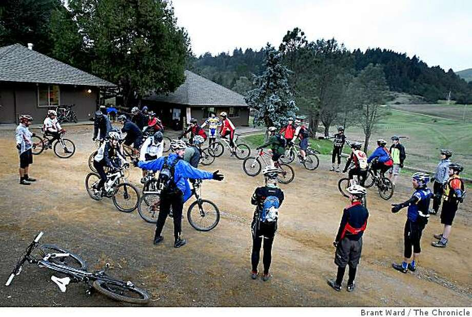 """One event is the """"slow race"""" where high school mountain bikers win by going the slowest without putting their feet down or going backwards. Many high schools in the Bay Area now have mountain bike teams which compete like traditional sports. The Nor Cal high school mountain bike league held a gathering Sunday February 8, 2009 at the Camp Tamarancho Boy Scout camp, which they rent from the scouts. Photo: Brant Ward, The Chronicle"""