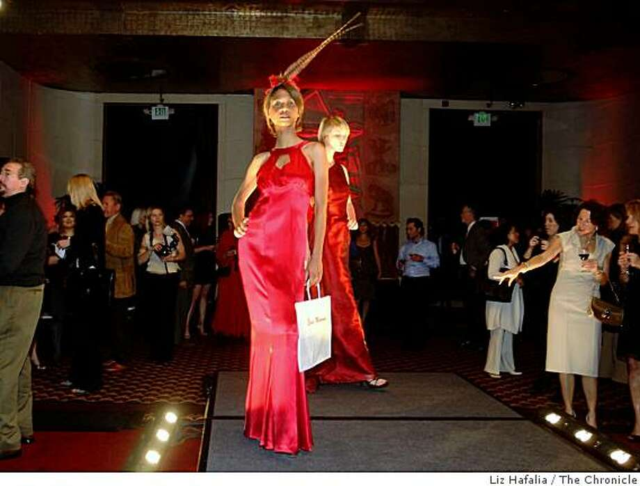 Erin Mahoney's red silk halter gown, shown at fashion show benefitting the Red Cross in San Francisco,  Calif., on Thursday, January 29, 2009. Photo: Liz Hafalia, The Chronicle